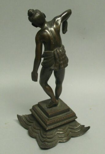 Very Fine 19th C. Indian Bronze Sculpture of Diety c. 1890 Hand-Chased Detailed