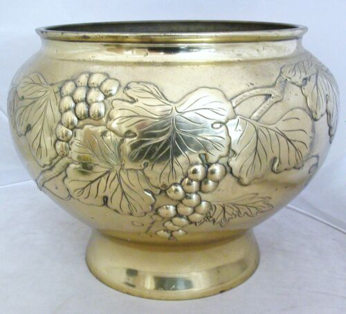 """Big 13"""" Vintage Japanese Brass Footed Vase or Jardinaire w/ High Relief Grapes"""