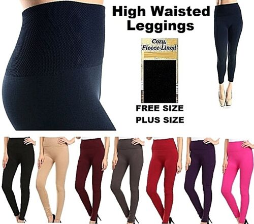 Ladies Tummy Tuck Extra HIGH WAISTED FOOTLESS Fleece Lined LEGGING TX701 TX701Q