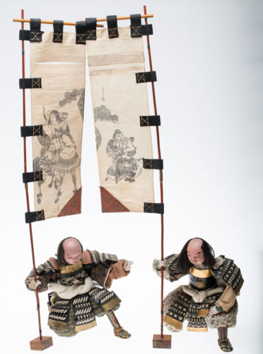 Antique Japanese EDO Musha Dolls Samurai Attendants with Banners--Museum Quality