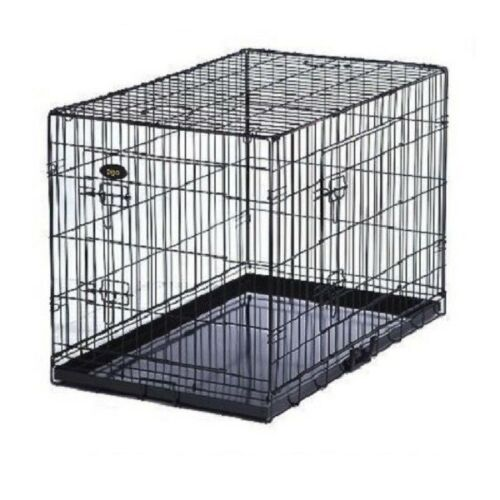 DOG CAGE PUPPY TRAINING CRATE PET CARRIER - SMALL MEDIUM LARGE XL XXL CAGES <br/> BLACK / SILVER -METAL TRAY -FAST DELIVERY - FOLDS FLAT