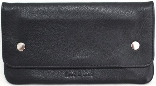 Quality Full Grain Cow Hide Leather Tobacco Pouch  hide & chic Black & Brn 11013