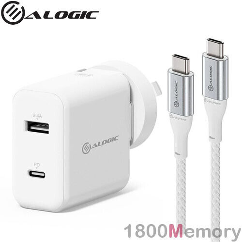 Alogic 30W 2 Port Power Delivery PD USB-C USB-A Wall Charger w/ 1m USB C Cable