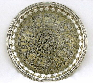 19TH CENTURY SOLID SILVER PERSIAN SALVER, PERSIAN SCHOLARS,MUSEUM QUALITY