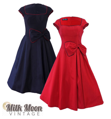 Vintage 1950's 1960's Black Red Swing Rockabilly Prom Evening Party Dress Grace <br/> FREE 1st CLASS POST IN THE UK! ALSO IN BLUE & PURPLE
