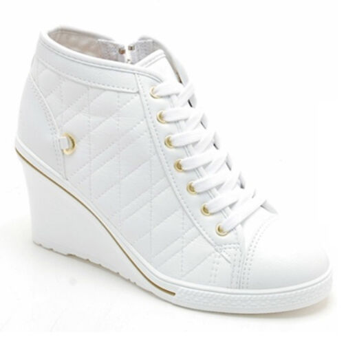 Epicsnob Womens Shoes Canvas Lace Up Wedges High Heel Fashion Trainers Sneakers