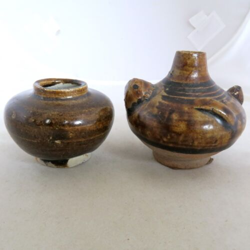 """2 Small Antique SONG Dynasty ? Chinese Pottery Brown Glazed Vases (2.25"""" & 2.6"""")"""