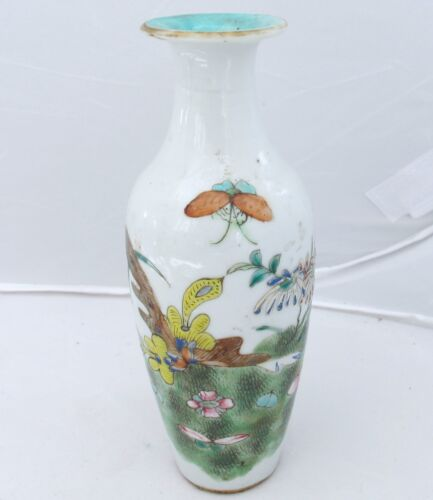 """5.95"""" Antique Chinese Famille Rose Vase with Landscape, Flowers & Butterflies"""