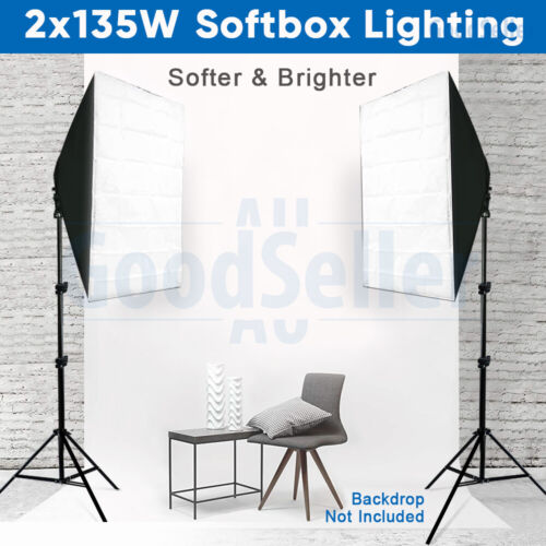 Photography 2x135W Softbox Studio Continuous Lighting Soft Box Light Stand Kit <br/> 2x135W CFL Bulbs, 2x2.1m Stands, 7600+ Sold, AU FAST