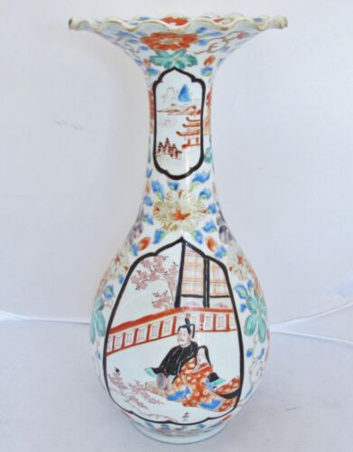 "12.7"" Signed Hichozan Japanese Arita Meiji Vase with Flowers & Scenes of Couples"