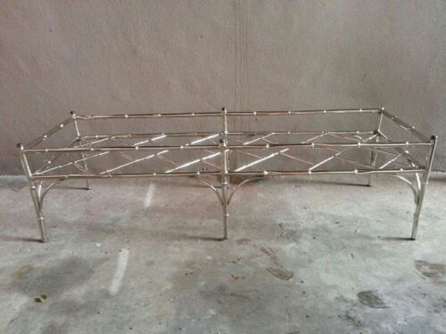 CHIC MID CENTURY CHINESE CHIPPENDALE NICKEL PLATED ALUMINUM COFFEE TABLE