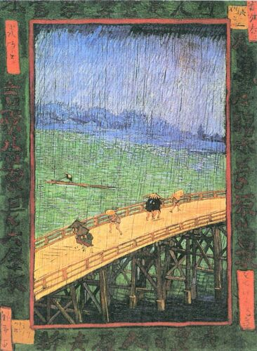 Japanese Bridge in the Rain (after Hiroshige) by Van Gogh Giclee Repro on Canvas