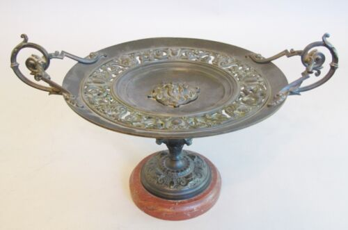 "Antique 16"" French Neoclassical Bronze and Marble Tazza c. 1870  Grand Tour"