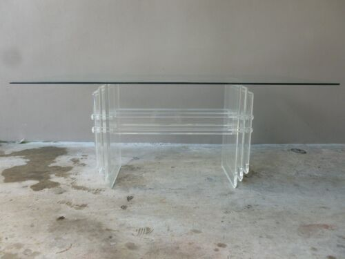 SUPERB 70'S HEAVY MOD MULTI SLAB LUCITE DINING TABLE