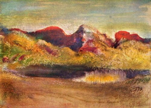 Lake and mountains by Edgar Degas Giclee Fine Art Print Reproduction on Canvas