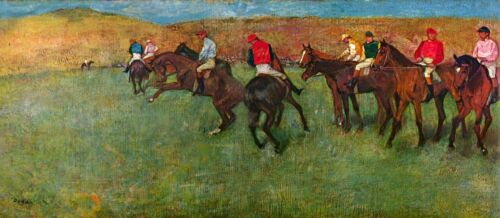 Horse race before the start by Edgar Degas Giclee Fine Art Repro on Canvas