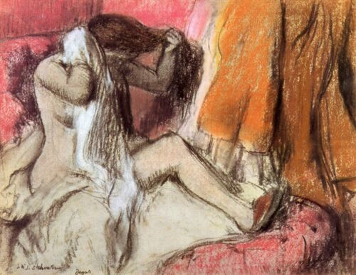 Seated female nude on a chaise lounge by Edgar Degas Giclee Repro on Canvas