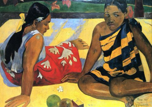 Two Women From Tahiti by Paul Gauguin Giclee Fine ArtPrint Repro on Canvas