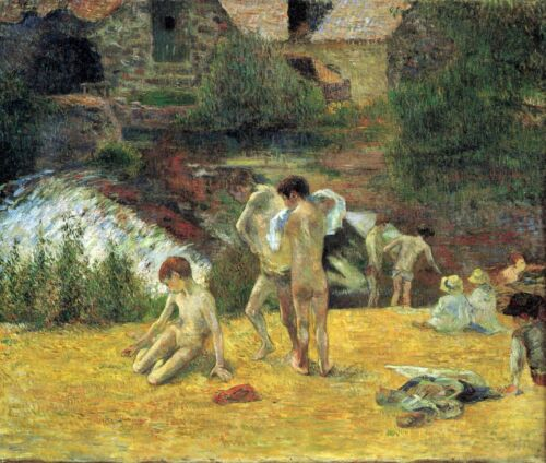 Bathing in the mill of Bois d'Amour by Paul Gauguin Giclee Repro on Canvas