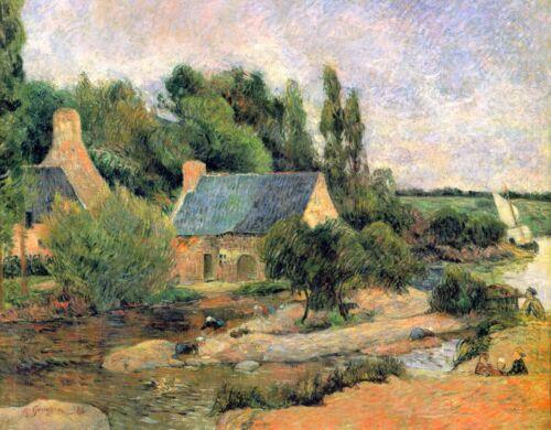 Washerwomen at Pont-Aven by Paul Gauguin Giclee Fine ArtRepro on Canvas