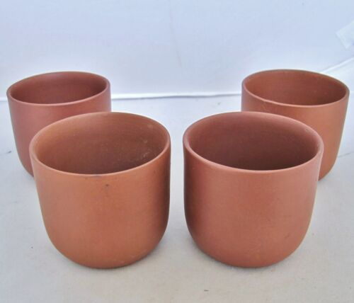 """Set of 4 Vintage Chinese YIXING Zisha Red Clay Teacups / Tea Cups  (2.6"""" each)"""