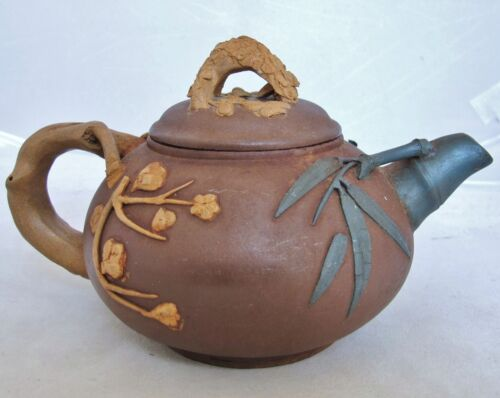 "6.8"" Vintage Chinese Red, Blue & Yellow YIXING Clay Teapot w/ Bamboo & Flowers"