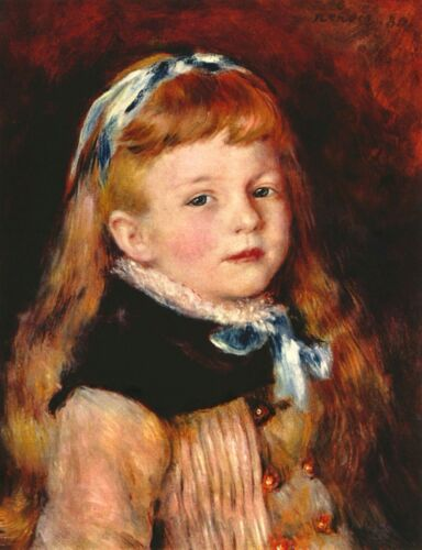 Mademoiselle Grimprel with blue hair-band by Pierre-Auguste Renoir Giclee Repro
