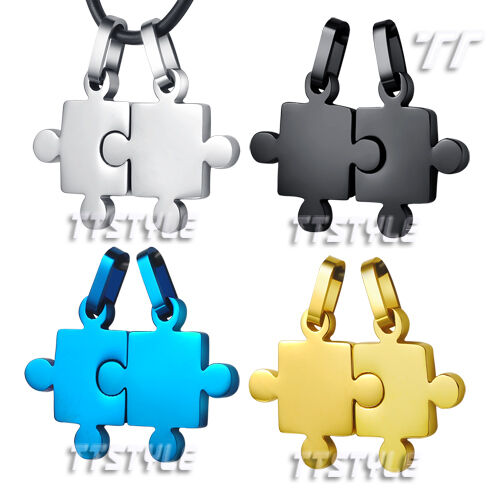 TTstyle Stainless Steel Puzzle Pendant For Couple Two Chain Four Colour Choose