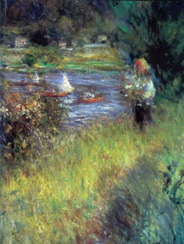 The Seine at Chatou (Detail) by Pierre-Auguste Renoir Giclee Repro on Canvas