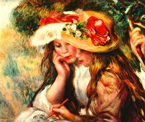 Two reading girls in a garden by Pierre-Auguste Renoir Giclee Repro on Canvas