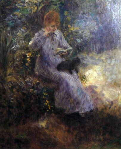 Woman with a black dog by Pierre-Auguste Renoir Giclee Print Repro on Canvas