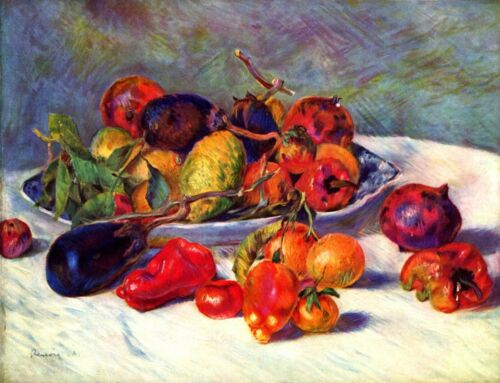 Still life with tropical fruits by Pierre-Auguste Renoir Giclee Repro on Canvas