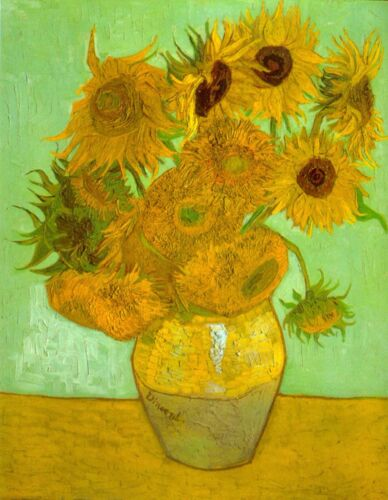 Twelve Sunflowers by Vincent Van Gogh Giclee Fine Art Print Repro on Canvas
