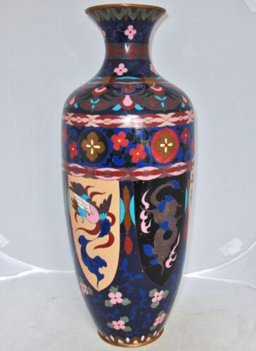 "BIG 17.7"" Antique Japanese Meiji Cloisonne Vase with Phoenix, Dragons & Flowers"