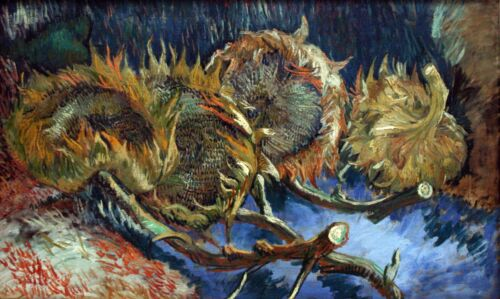 Four Sunflowers gone to Seed by Vincent Van Gogh Giclee Print Repro on Canvas