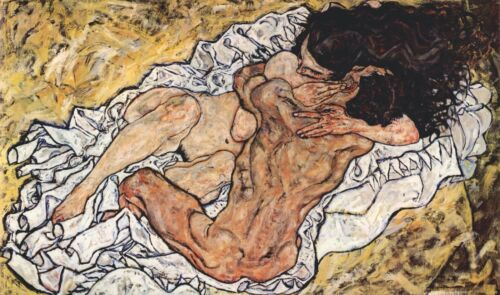 The Embrace by Egon Schiele Giclee Fine ArtPrint Reproduction on Canvas