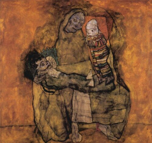Mother with two children by Egon Schiele Giclee Fine Art Print Repro on Canvas