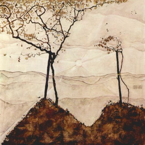 Autumn sun and trees by Egon Schiele Giclee Fine Art Print Repro on Canvas
