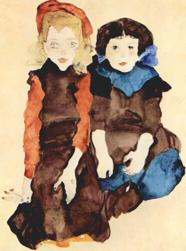 Girls by Egon Schiele Giclee Fine ArtPrint Reproduction on Canvas
