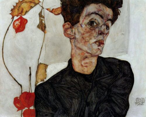 Self-portrait by Egon Schiele Giclee Fine Art Print Reproduction on Canvas