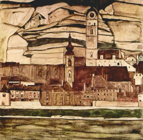 Stone on the Danube II by Egon Schiele Giclee Fine Art Print Repro on Canvas