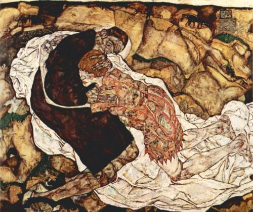 Death and the Woman by Egon Schiele Giclee Fine ArtPrint Reproduction on Canvas