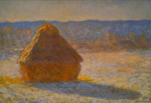 Haystacks in Snow by Claude Monet Giclee Fine ArtPrint Reproduction on Canvas