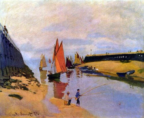 Port of Trouville by Claude Monet Giclee Fine ArtPrint Reproduction on Canvas