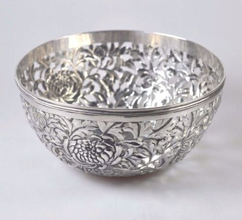148gr ANTIQUE CHINESE EXPORT SILVER CHRYSANTHEMUM BOWL WANG HING CHINA QING 1900