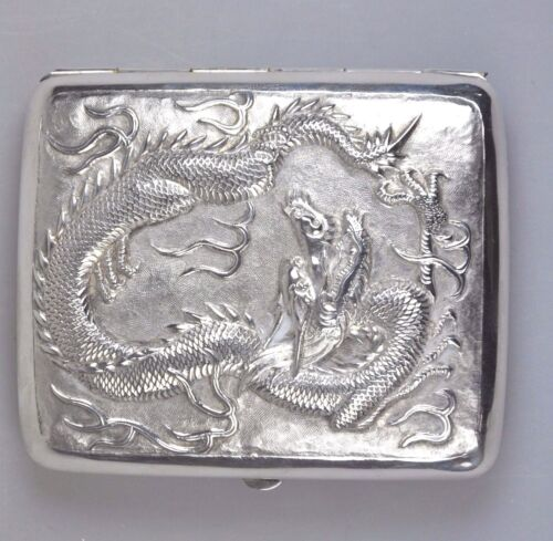 ANTIQUE WANG HING SILVER CHINA CHINESE DRAGON CARD CIGARETTE CASE BOX 1900