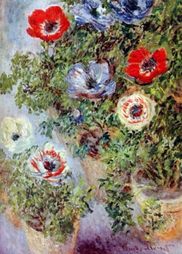Still Life with Anemones by Monet Giclee Fine Art Print Repro on Canvas