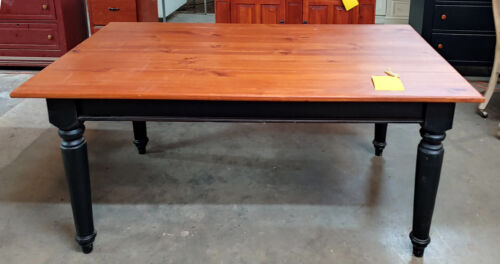 9 Ft Pine Farmhouse Plank Top Table, Antiqued/Distressed Maple finish, USA Made