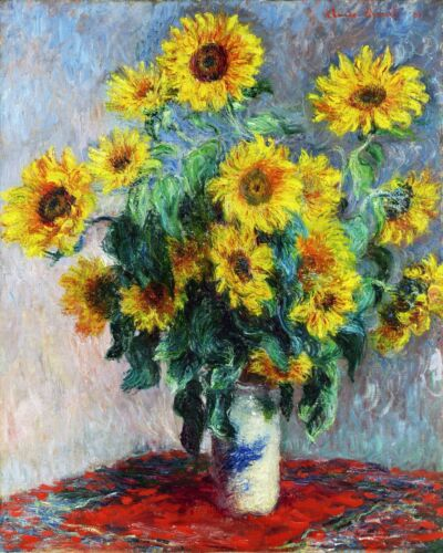 Still Life with Sunflowers by Claude Monet Giclee Fine ArtPrint Repro on Canvas