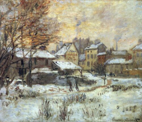 Snow at sunset, Argenteuil in the snow by Claude Monet Giclee Repro on Canvas